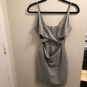 Reposh Grey Criss Cross Cocktail Dress